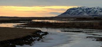 Solnedgång Island Royaltyfria Foton