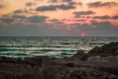 Solnedgång Israel Arkivbild