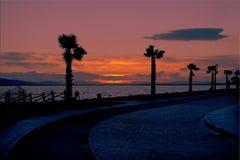 Solnedgång izmir. Arkivfoto