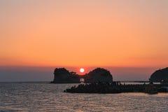 Solnedgång Japan Shirahama arkivfoto