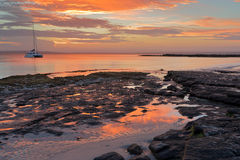 Solnedgång Jervis Bay Austtralia Arkivbild