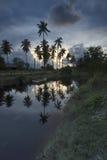 Solnedgång Kuala Besut arkivbilder