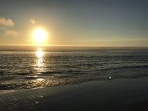 Solnedgång längs den Oregon kusten Arkivfoto