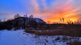 Solnedgång-målad himmel Arkivfoton