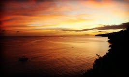 Solnedgång Martinique royaltyfri foto