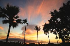 Solnedgång Maui royaltyfria foton