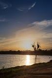 Solnedgång med älskvärda färger och moln av trädet i sjön i willen Royaltyfri Foto