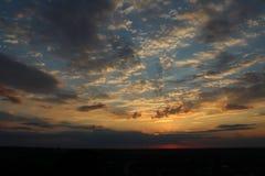 Solnedgång med färgrik himmel Royaltyfria Foton