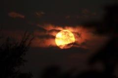 Solnedgång med molnet Fotografering för Bildbyråer