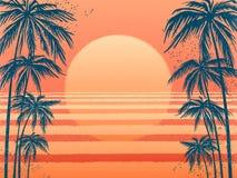 Solnedgång med palmträd, moderiktig rosa bakgrund Vektorillustration, designbeståndsdel för lyckönskankort, tryck vektor illustrationer