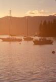 Solnedgång med segelbåtar Royaltyfri Fotografi