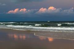 Solnedgång 75 mil strand Fotografering för Bildbyråer