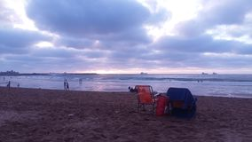 Solnedgång Mohammedia Marocko fotografering för bildbyråer