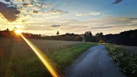 Solnedgång nära banan Fotografering för Bildbyråer