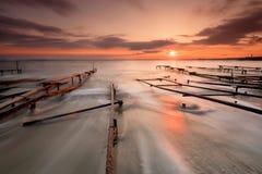 Solnedgång nära fiskeläge Royaltyfria Foton