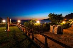 Solnedgång nära havsstranden Fotografering för Bildbyråer