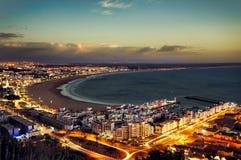 Solnedgång nattetidfoto Agadir, Marocko Arkivfoto