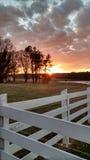 Solnedgång norr Carolina Farm Fotografering för Bildbyråer