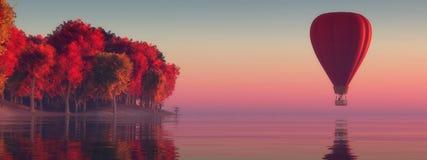 Solnedgång och ballong för varm luft Royaltyfri Bild