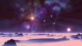 Solnedgång och färgrik nebulosa arkivfilmer