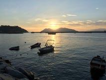 Solnedgång och havet Fotografering för Bildbyråer