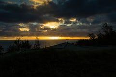 Solnedgång och havet som tas i Hawaii Arkivbilder