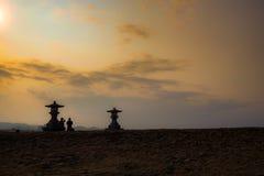 Solnedgång och himmel Arkivbilder