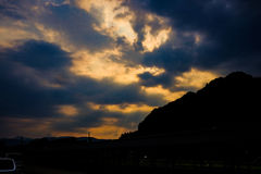 Solnedgång och himmel Royaltyfri Foto