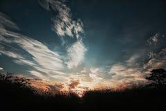 Solnedgång och natur Royaltyfri Foto