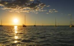 Solnedgång och segelbåtar det den LaPaz hamnen i Baja California Sur Mexico Royaltyfri Fotografi