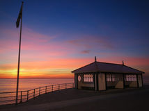 Solnedgång och skydd Arkivfoton