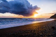Solnedgång och storm i Anapa Royaltyfria Foton