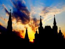 Solnedgång ovanför Moscow Kremlin Arkivfoto