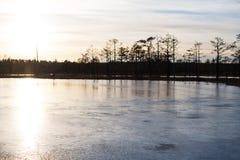 Solnedgång på is Royaltyfri Fotografi