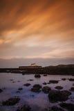 Solnedgång på Abberfraw Arkivfoto