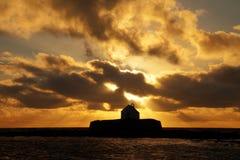 Solnedgång på Abberfraw Arkivbild