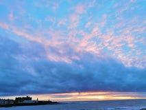 solnedgång på Aberystwyth arkivfoto