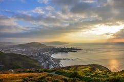 Solnedgång på Aberystwyth, Wales Arkivbilder