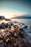 Solnedgång på Adriatiska havet Arkivbild