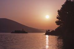 Solnedgång på Adriatiskt havet Fotografering för Bildbyråer