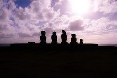 Solnedgång på Ahu Tahai Arkivfoto