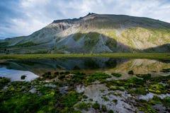 Solnedgång på Akkem sjön i de Altai bergen arkivbilder