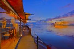 Solnedgång på Amazon River kryssning Royaltyfria Foton