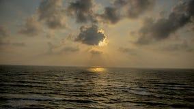 Solnedgång på Apollonia Beach Arkivbilder
