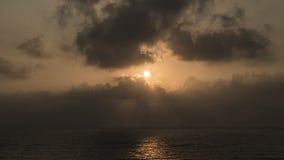 Solnedgång på Apollonia Beach Arkivbild