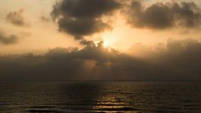 Solnedgång på Apollonia Beach Royaltyfri Bild