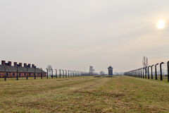Solnedgång på Auschwitz Birkenau 2 Fotografering för Bildbyråer