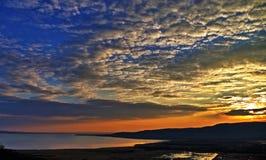 solnedgång på balatonen royaltyfri fotografi