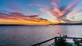 Solnedgång på balkongen Fotografering för Bildbyråer