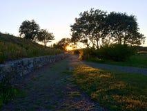 Solnedgång på bana i Maine Arkivfoton